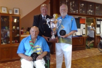 Mike Diston & Richard Brown winners of the Wedmore Pairs with BWBA President Terry Fitzgerald